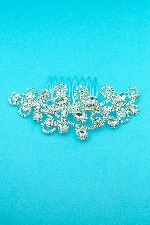 Clear/Silver Pear/Round Stone Framed Hair Comb