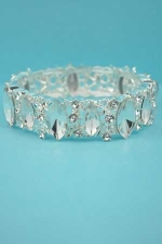 Clear/Silver Marquise Stone Single Row Leaf/Branch Shape Bracelet