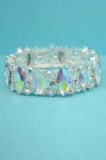 Aurora Borealis/Silver Marquise Stone Single Row Leaf/Branch Shape Bracelet