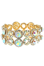AB/Clear/Gold 2 Row Open Circle and Round Stone Stretch Bracelet