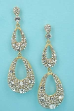Clear/Gold 3Row 2.5'' Round Stone Dangle Post Earring