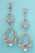Clear/Silver 3 Row 2.5'' Round Stone Dangle Post Earring
