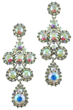 Silver/AB Round Cluster Earring