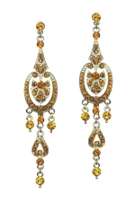 Light Colorado/Gold Clustered Round Long Dangles Earring