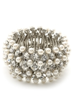 White Pearl/Silverl Thick Stretch Bracelet