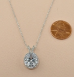 Cubic Zirconia Silver Double Chain Ring Inlayed Oval Stone Necklace