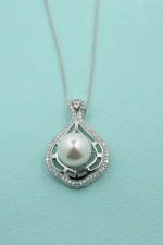 Cubic Zirconia/ Pearl Paved Teardrop With Raised Pearl necklace