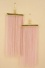 Pink Gold With Tassle Chain Post Earring