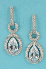 """Clear/Silver Center Pear Stone 1.5"""" Earring"""