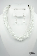White Pearl/Silver Ab Multi Row Twisted Set
