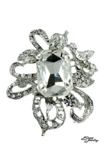 Clear/Silver Flower Pin W/emerald Cut Stone