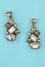 "Light Peach/Light Colorado Antiquegold 0.7"" Multiple Stone Post Dangle Earring"