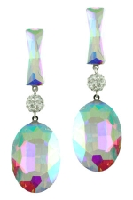 AB/Clear/Silver Baguette and Oval Stone Earring