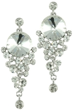 Clear/Silver Rivoli with Cascading Stones Earring