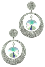 AB/Clear/Silver Pave Circle with Teardrop Earring