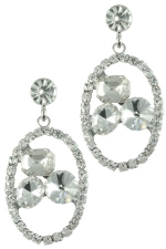 Clear/Silver Dainty Oval with Floating Stones Earring