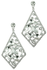 Clear/Silver Diamond with Floating Stones Earring
