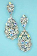 Clear/Silver Large Dangle Post Earring With Small Clusters