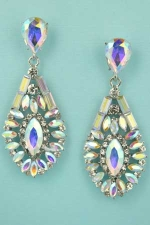 """Aurora Borealis/Clear Silver Framed Center Marquise Stone 2.2"""" Earring"""
