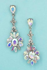 AB/Clear Silver Oval/Baguette/Marquise/Pear Stone Cluster Earring