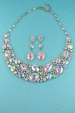 Clear Silver AB Multi Stone Necklace Set