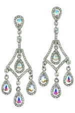 AB/Clear/Silver Round Stone Dangle Earring