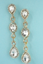 Clear/Gold Chain Shape Pear Stone Dangle Post 3'' Earring