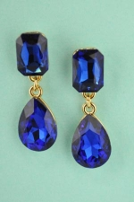 Sapphire/Gold Baguette/Pear Stone 1.5'' Post Dangle Earring