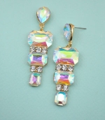 """AB/ Gold Pear Stone With Tri Emerald Stone 2&1/2"""" Dangle Post Earring"""