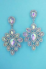 AB Silver Framed Pear/Marquise Stone Earring