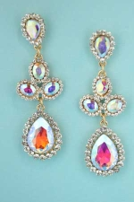 "Aurora Borealis/Clear Gold 2.5"" Linked Pear Stone Post Earring"