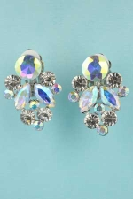 "Aurora Borealis/Clear Silver Clip Bunch of Grapes 1.1"" Earrings"