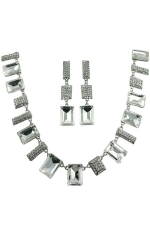 Clear/Silver Multi-Rectangular Necklace Set