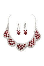 Siam Red/Clear/Silver 5 Scallop Cluster Set