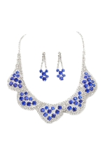 Sapphire Blue/Clear/Silver 5 Scallop Cluster Set