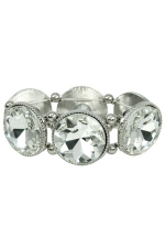 Clear/Silver Large Circle Stretch Bracelet