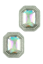 AB/Silver Large Emerald Cut Stud Earring