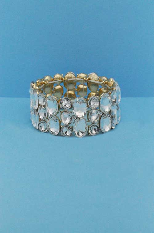 Clear/Gold Multiple Shape Stone Strech Bracelet