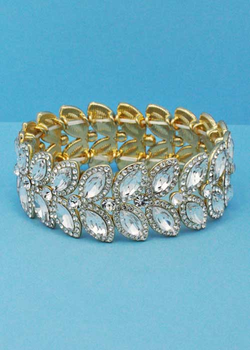Clear/Gold Two Rows Leaf Stretch Bracelet