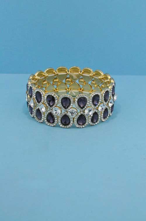 Amethist/Clear Gold Two Rows Pear Stretch Bracelet