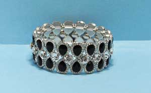 Jet/Clear Silver Three Row Pear/Round Bracelet