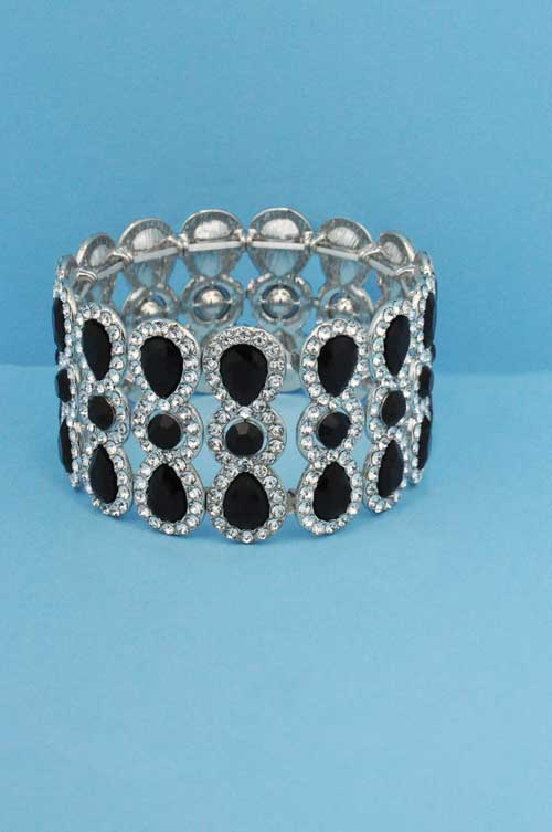 Jet/Clear Silver Three Rows Pear/Round Stone Bracelet