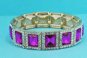 Fuchsia/Clear Gold One Row Square Stretch Bracelet