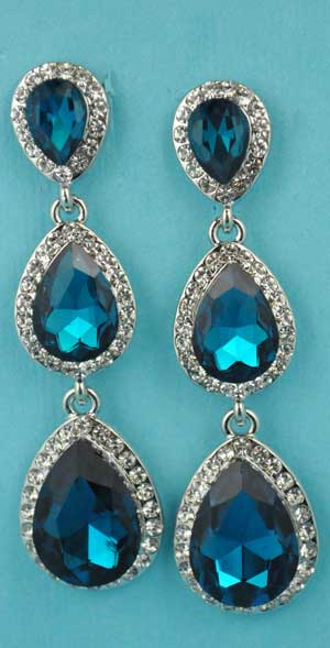 "Blue Zircon/Clear Silver Three Linked Pear Stone 2.5"" Post Earring"