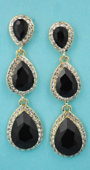 "Jet/Clear Gold Three Linked Pear Stone 2.5"" Post Earring"
