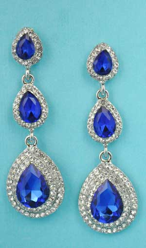 "Sapphire/Clear Silver Three Linked Pear Stone 2.5"" Post Earring"