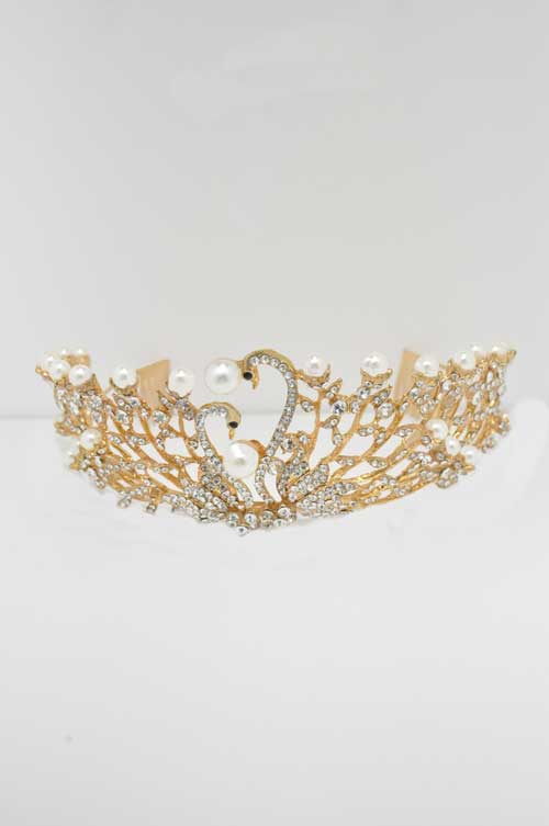 Pearl/Clear Gold Two Swan Shape Tiara