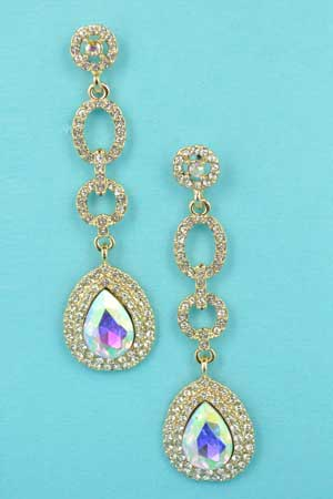 Aurora Borealis/Clear Gold 4 Rows Chain Shape 2.5""
