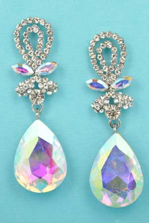 """Aurora Borealis/Clear Silver Top Lace Shape 2"""" Post Earring"""