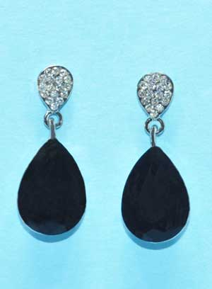 """Jet/Clear Top Clear/Tainted Bottom 1"""" Post Earring"""